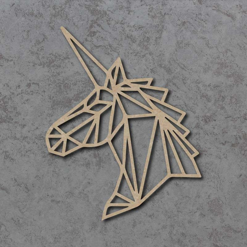 Geometric Unicorn Head Detailed Craft Shapes