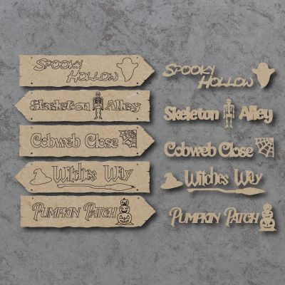 Halloween Directions Hanging Sign