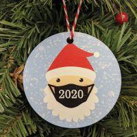 Masked Santa 2020 Printed Bauble, Gift Tag