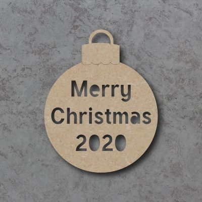 Merry Christmas with Year Cutout Bauble