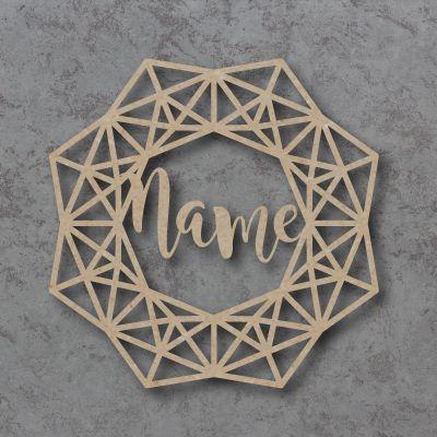Personalised geometric wreath decoration