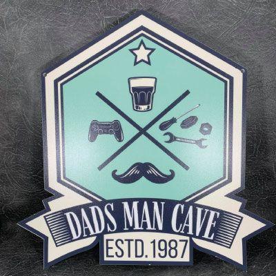 Personalised Printed Dads Man Cave ESTD Sign
