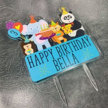Jungle Friends Birthday Printed Cake Topper
