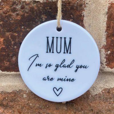 'I'm so glad you are mine' ceramic hanging keepsake