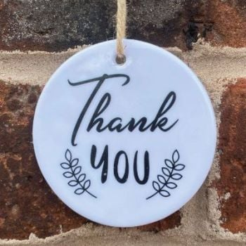 Thank You ceramic hanging keepsake