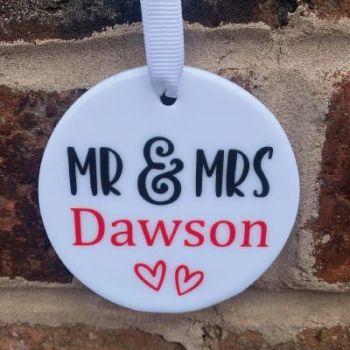 'Mr & Mrs' hanging keepsake