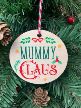 Mummy Claus Printed Bauble
