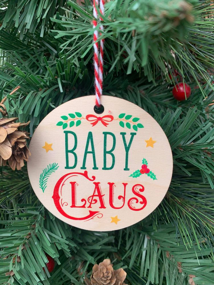 Baby Claus Printed Bauble
