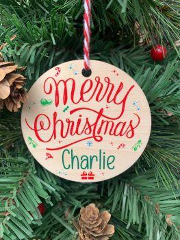Merry Christmas Name Printed Bauble, Gift Tag