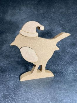 Robin with Santa Hat Craft Shapes 18mm Thick