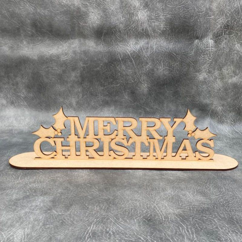 Merry Christmas with Holly Freestanding Craft Sign