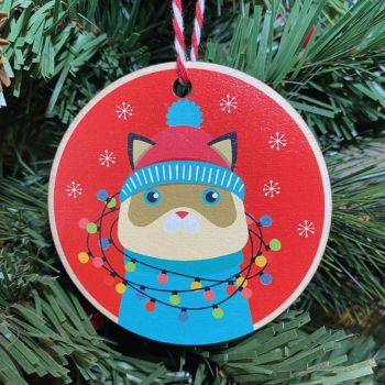 Cat with Christmas lights Printed Bauble