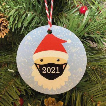 Masked Santa 2021 Printed Bauble, Gift Tag
