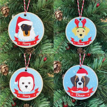 Personalised Printed Christmas Dog Bauble