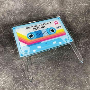 Personalised Tape Printed Cake Topper, 80's birthday, 90's birthday, retro birthday