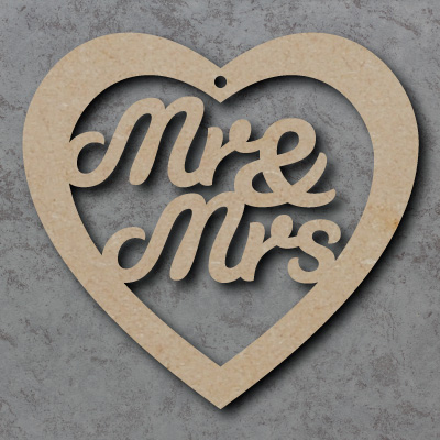 Mr & Mrs Wooden mdf Hearts