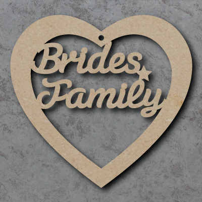 \'Brides Family\' Heart mdf Shape