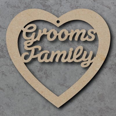 Grooms Family mdf Heart