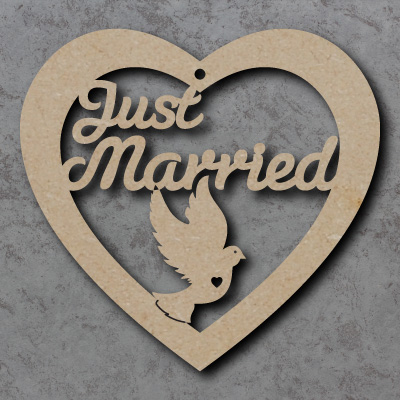 Just Married mdf Wooden Heart
