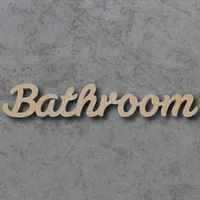 Bathroom Script Font Wooden Words