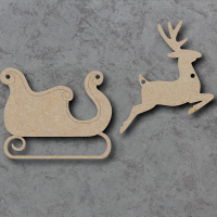 Sleigh and Reindeer Bunting mdf Shapes