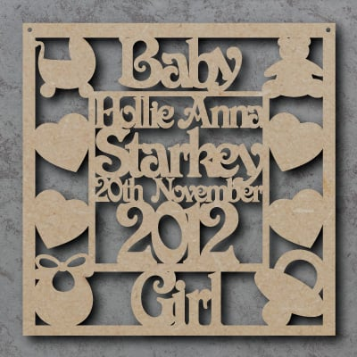 Personalised Baby Girl Craft Sign