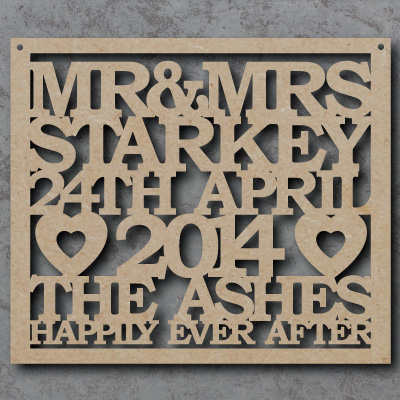 Personalised Wedding Craft Sign
