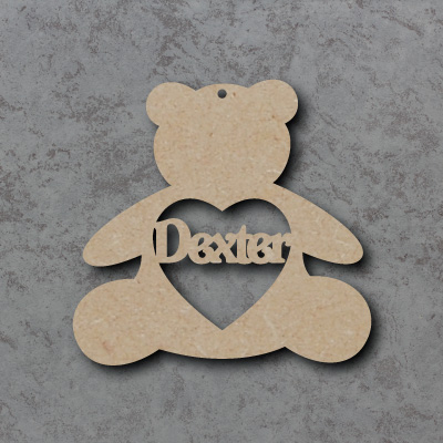 Personalised Teddy Bauble mdf Shapes