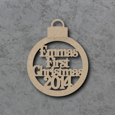 Personalised Baby\'s First Christmas 2015 Bauble mdf Shapes