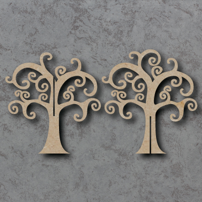 3D Curly Tree mdf Shapes