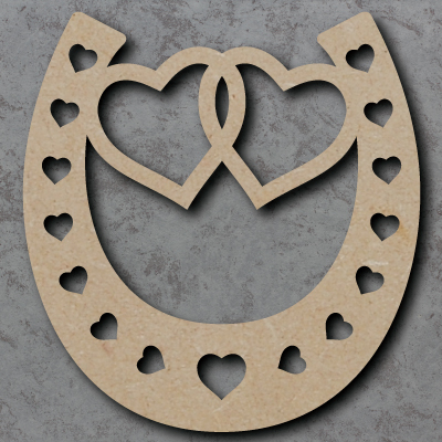Horse Shoe - Linked Hearts Wooden Craft Shapes