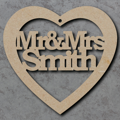Mr & Mrs Personalised Heart Craft Shapes