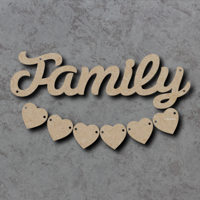 Family Script Sign with Hearts