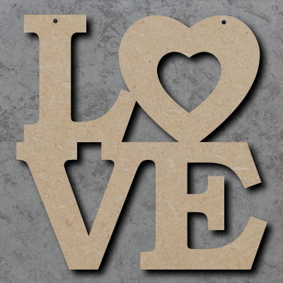 LO-VE mdf Craft Sign with Heart