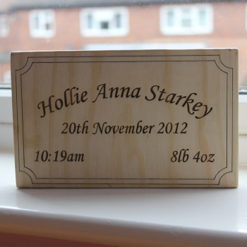 Personalised Freestanding Newborn / Baby Plaque