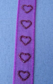 10m of Cerise Ribbon with Hearts