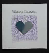 Bespoke Handmade Wedding Invitation Range - purple angel hair effect and heart