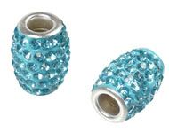 Bead - oval with strass  for beadable pen - Silver Plated Aquamarine Blue