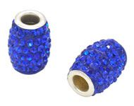 Bead - oval with strass  for beadable pen - Silver Plated Cobalt Blue