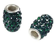 Bead - oval with strass for beadable pen - Silver Plated Dark Green