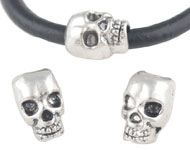 Skull Bead - metal large hole bead for beadable pens - old silver colour