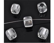 Bead - Synthetic Cube Clear and Grey 7mm (Pack of 15)