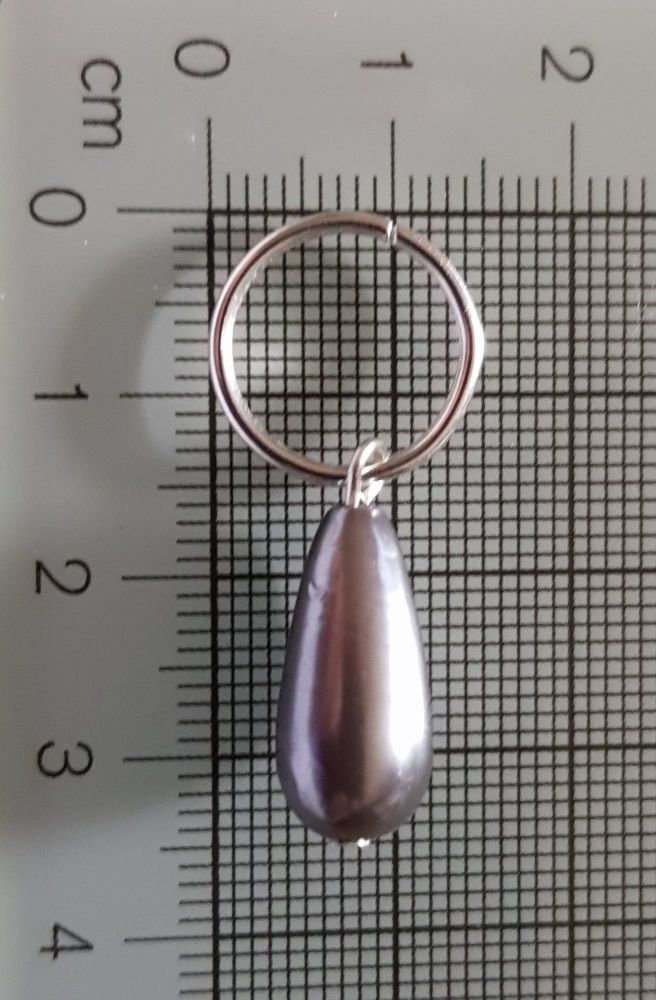 Stitch Markers for Knitting and Crochet (Drop Pearl Like Grey Bead - 15mm)
