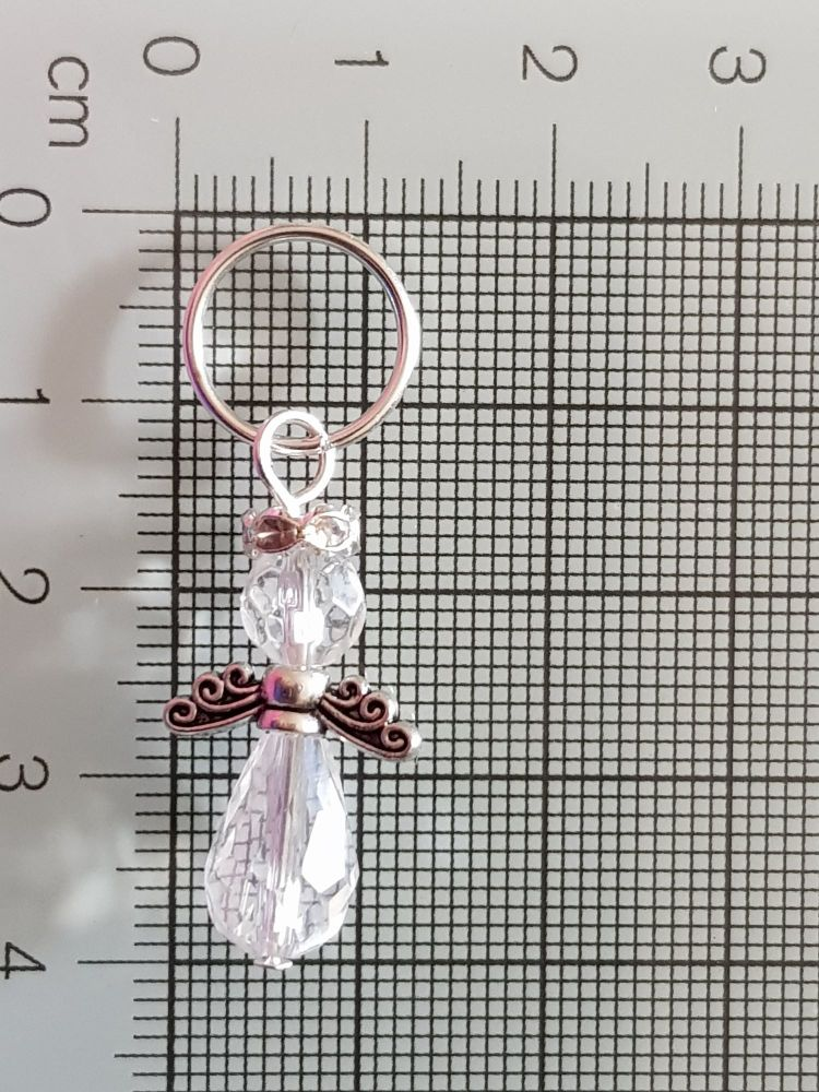 Stitch Markers for Knitting and Crochet - (Angel Crystal - 13mm ring)