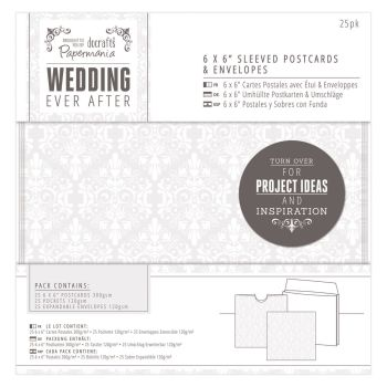 "Wedding Invitation Pack 6"" x 6"" Sleeved Postcards & Envelopes"