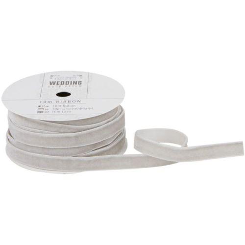 10 m Velvet Ribbon  - Silver