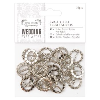 Diamante buckle ribbon sliders - small round