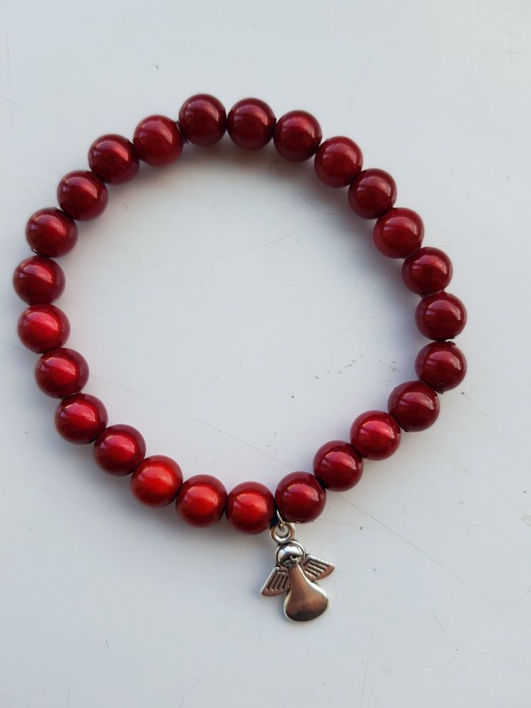 Adult Angel Glow BeadMiracle 8mm Bracelet - Red