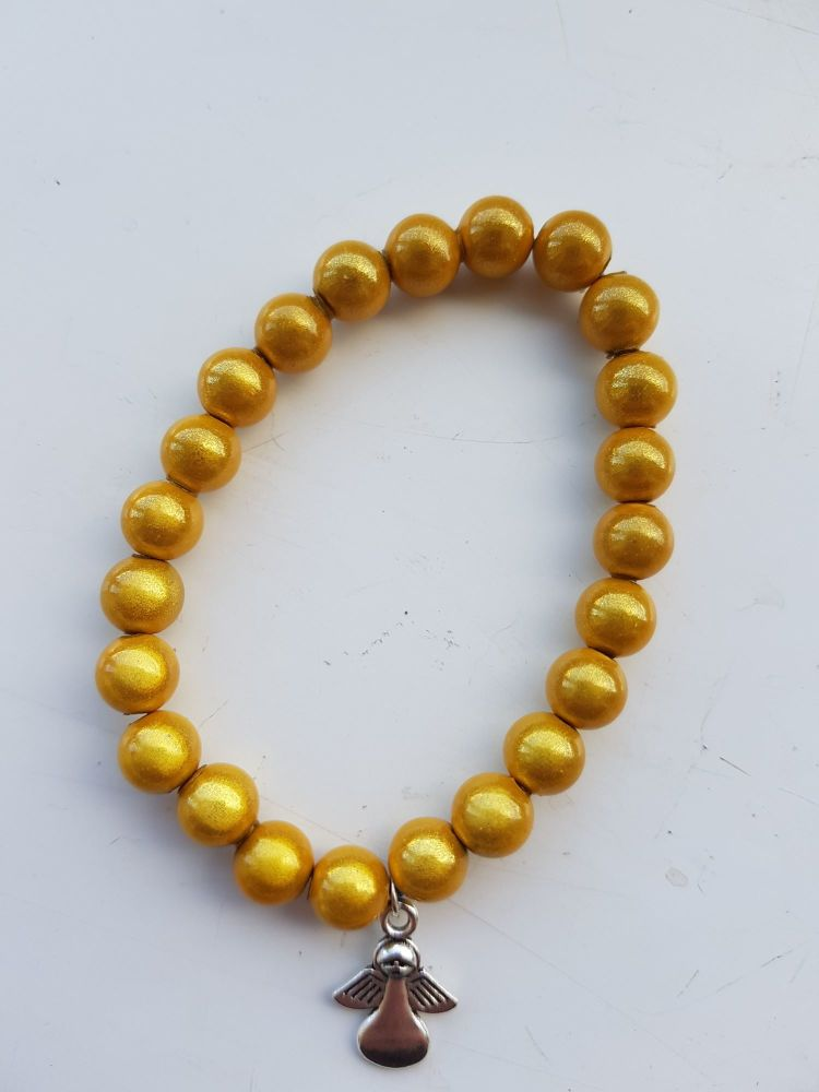 Adult Angel Glow BeadMiracle 8mm Bracelet - Golden Yellow