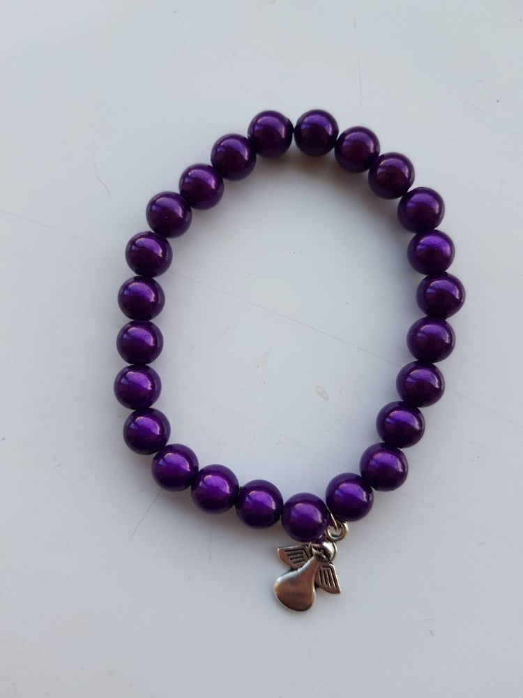 Adult Angel Glow / Miracle Bead Bracelet - 8mm Dark Purple